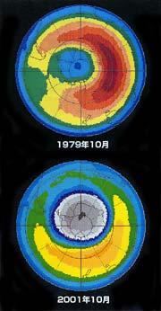 1979年10月と2001年10月のオゾン層比較図